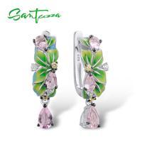 SANTUZZA Silver Earrings For Women Pure 925 Sterling Silver Delicate Green Leaves Drop Earrings Fashion Jewelry Handmade Enamel