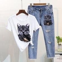 1d974371ee23 2019 Summer 2 Pieces Jeans Suits Women Cat Print Cotton T Shirts Beading  Tshirt+calf