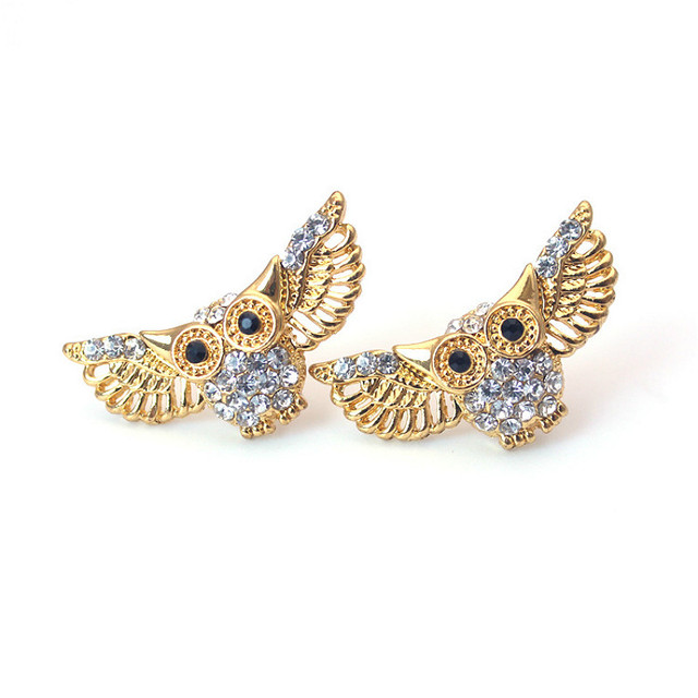 9b3e088fe Fashion Design Wing of Angle Owl Stud Earrings for Girl Cute Gold Silver  Color Rhinestone Animal Earrings Women Jewelry Gifts