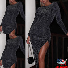 Sexy Womens Long Sleeve Sequins Shimmer Dress Party Evening Midi Dress