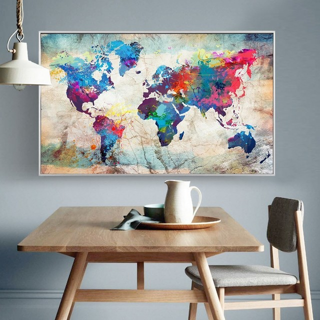 HUACAN Full Square Diamond Painting World Map 5D DIY Diamond Embroidery Sale Landscape Mosaic Picture Of