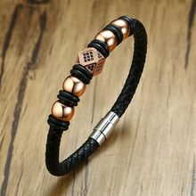 Handmade Men's Leather Bracelet Braided Bangle Rose Gold Beads Wrap Boy Male Wristbands Accessories(China)