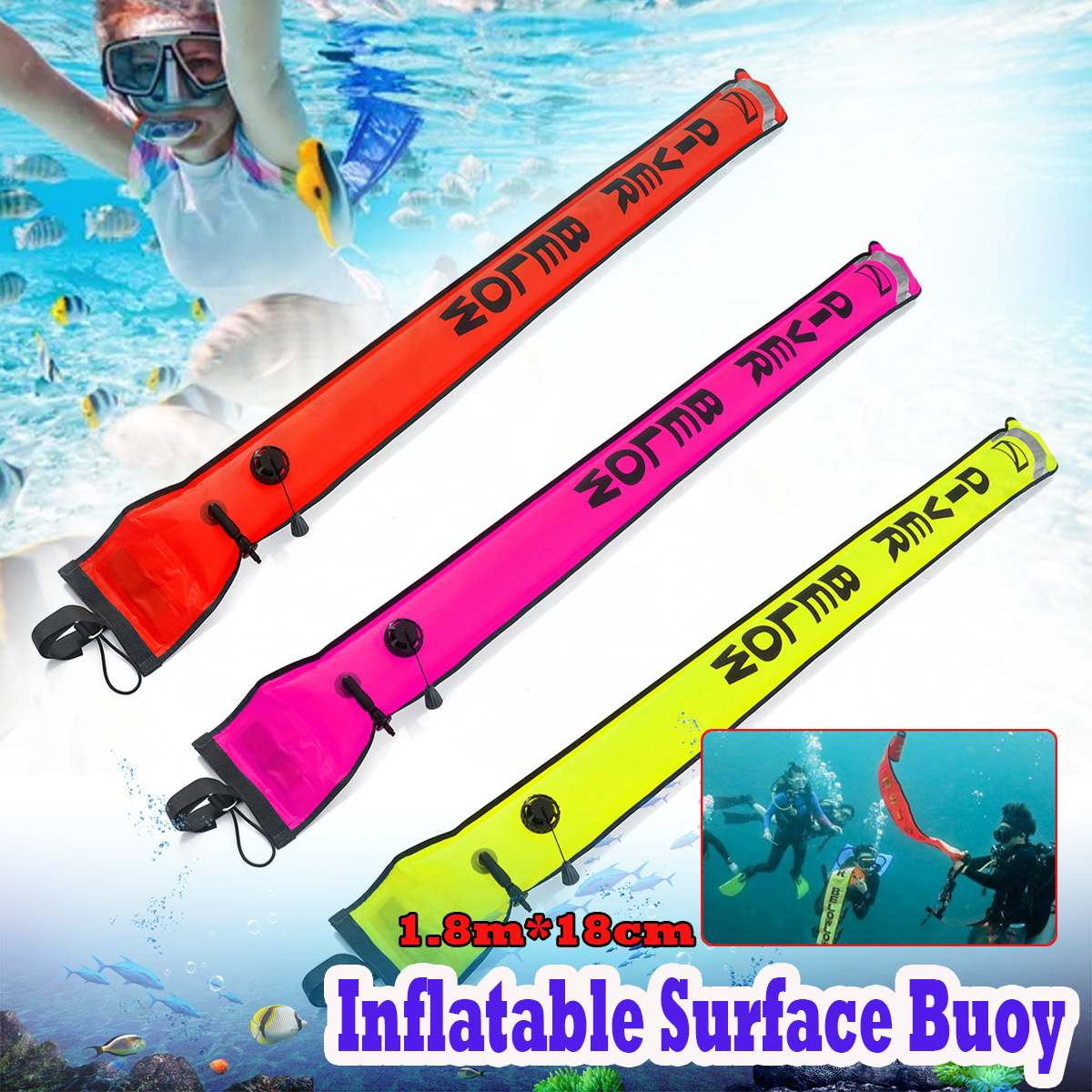 Reflective Inflatable Scuba Diving Surface Marker Buoy SMB /& 15m Dive Reel