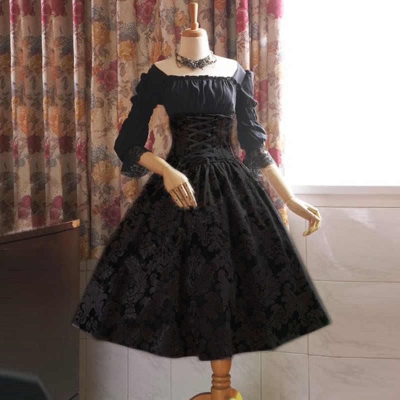 Ложные двухсекционные платья Лолита с принтом Высокая талия с длинным рукавом Кружева Викторианский готический черный красный серый женский костюм плюс размер 5XL