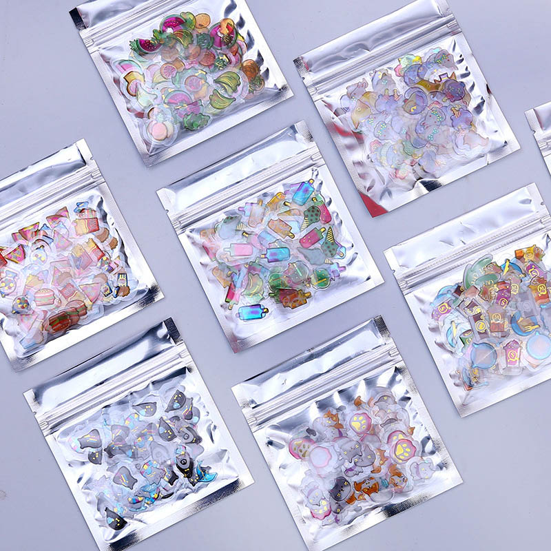 100Pcs/Pack Kawaii Cartoon Adhesive Stickers Cute Foil Stickers Jelly Color Stickers For Diary Decorative Scrapbooking Supplies