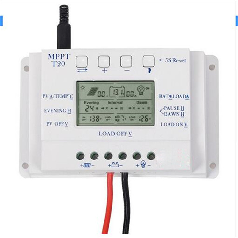 LCD Display T20 20A 12V/24V PWM Solar Panel Battery Regulator Charge Controller Three-time Interval Charger Controller RegulatorLCD Display T20 20A 12V/24V PWM Solar Panel Battery Regulator Charge Controller Three-time Interval Charger Controller Regulator