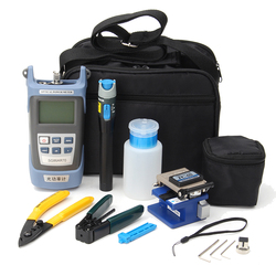 For FC-6S Fiber Optic FTTH Tool Kit Fiber with AUA-60S Fiber Cleaver Optical Power Meter3-5KM Visual Finder Locator Wire strippr
