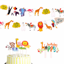 PATIMATE Safari Animals Cake Topper Jungle Party Decoration Accessories Paper Banner Decor Baby