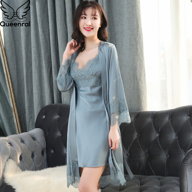 Queenral 2pcs Women's Sleep Lounge Robe Gown Sets Sleepwear Womens Sleep Set Femme Lingerie Set Nightwear Lace Homewear