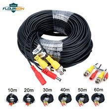 Universal 10m/20m/30m/40m/50m/60m cctv câmera cabos gravador cabo de vídeo dc câmera de vigilância de segurança de energia bnc cabo