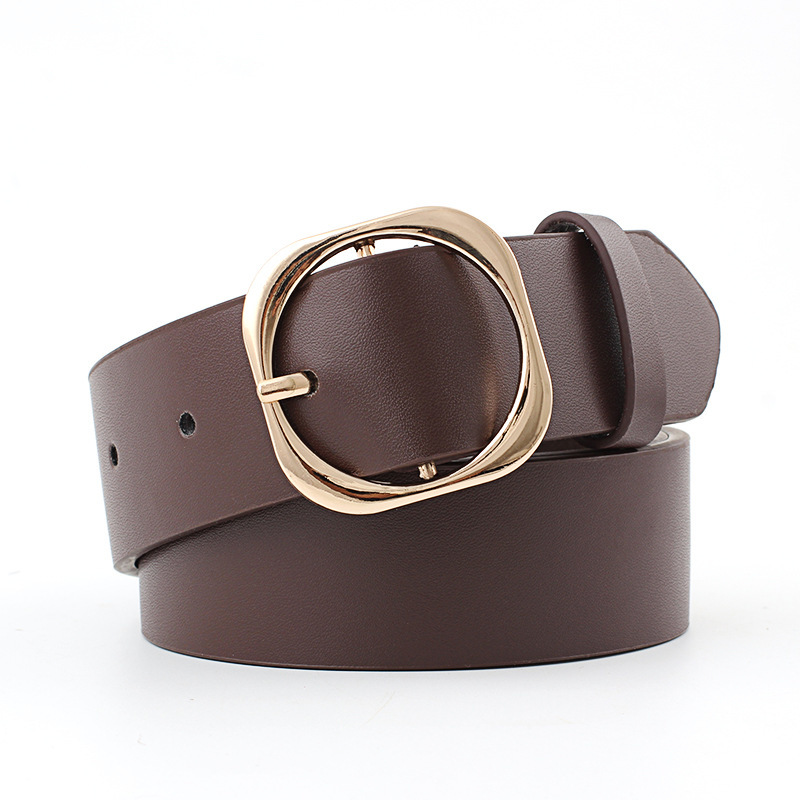 Fashion Gold Round Buckle Belts Female Leather Wide Strap For Leisure Dress Jeans Decoration Women's Belt Cinto Feminino