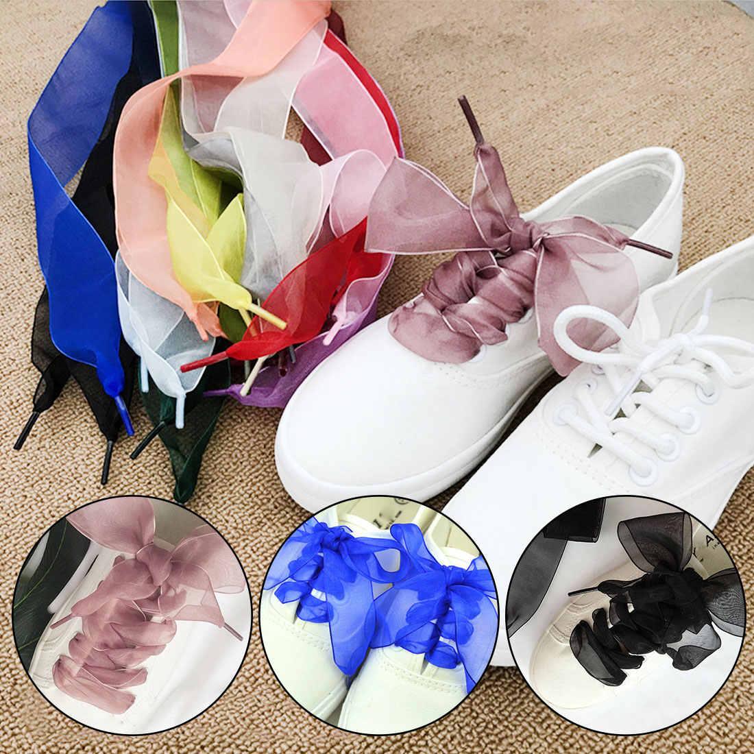 1 пара; Модные женские шнурки на плоской подошве; Шелковый Атласный органза; теннисные туфли с кружевами; спортивная обувь с кружевным бантом