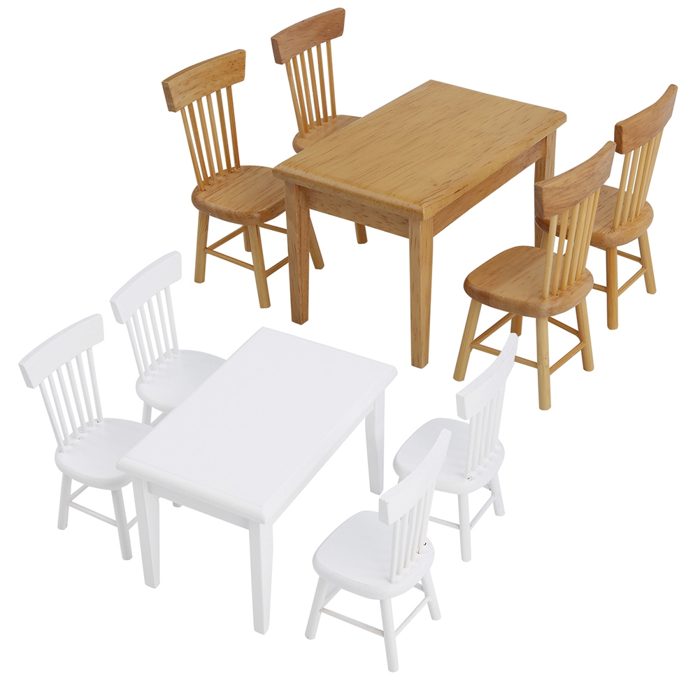 5pcs Wood Furniture Toys Dining Table Chair Model Set 1:12