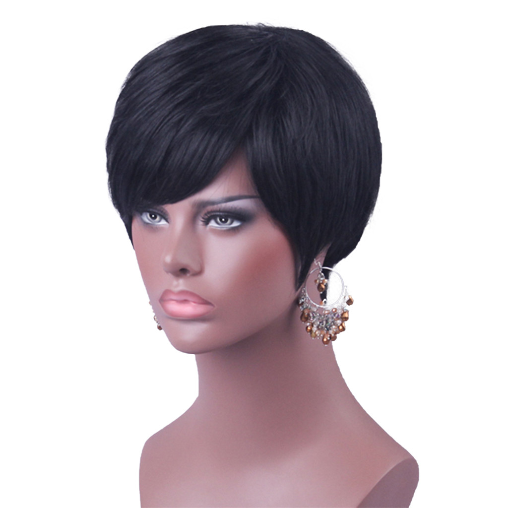 8'' Short Straight Wigs Human Hair Pixie Cut Chic Wig for Women w/ Bangs Black Straight blouse straight cut