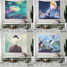 Jellyfish Psychedelic Tapestry Wall Hanging Mandala Hipipe Bobo Marine Landscape Cloth Tapestries Headboard Dorm