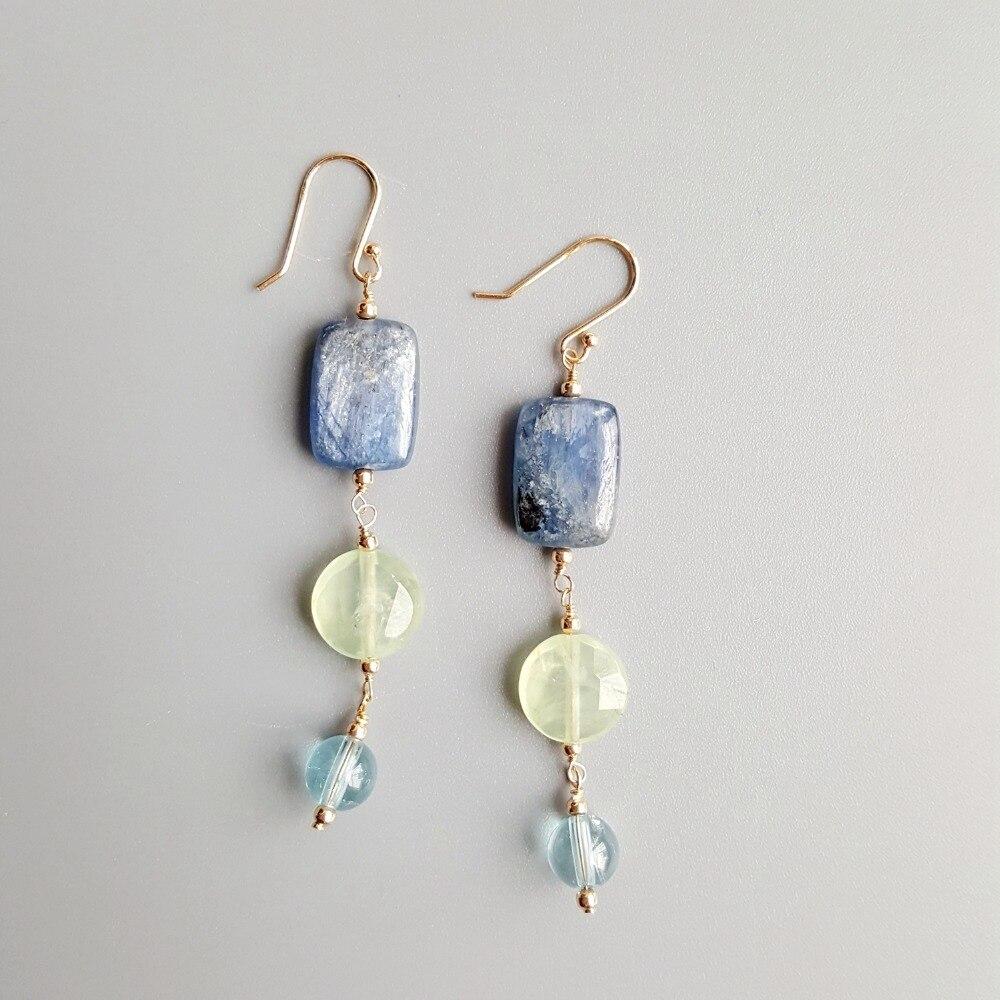 LiiJi Real Kyanite Prehnites Blue Topazs Earrings 925 Sterling Silver Handmade Drop Earrings Delicate Jewelry For Women Gift
