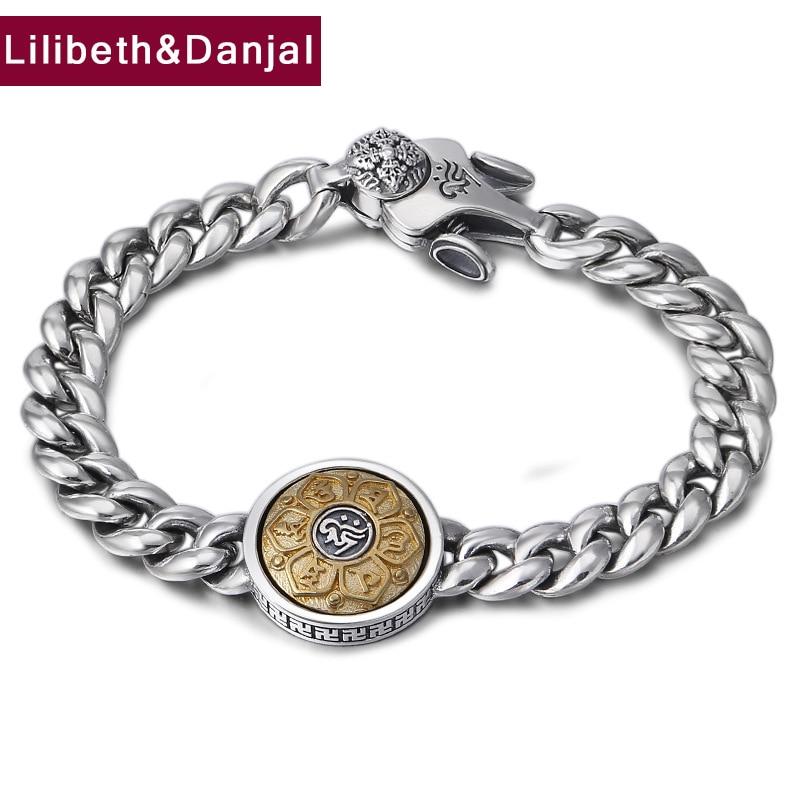 Buddha Mantra Bracelet 100% 925 Sterling Silver Fine Jewelry Men Rotatable Couple Chain Bracelet Bangle 2018 friendship Gift B29