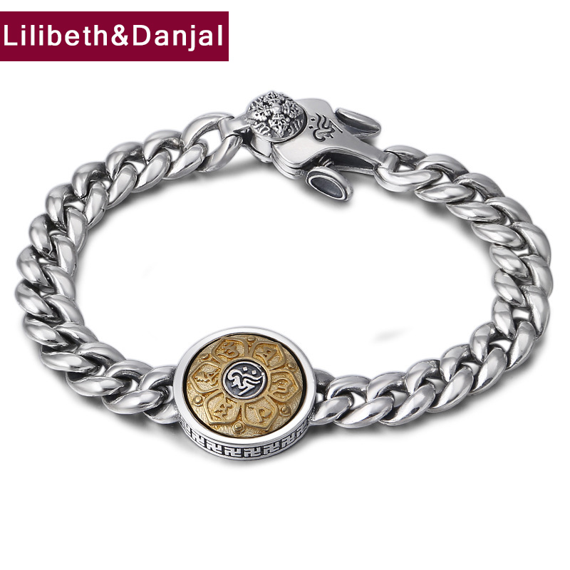 Buddha Mantra Bracelet 100% 925 Sterling Silver Fine Jewelry Men Rotatable Couple Chain Bracelet Bangle 2018 friendship Gift B29