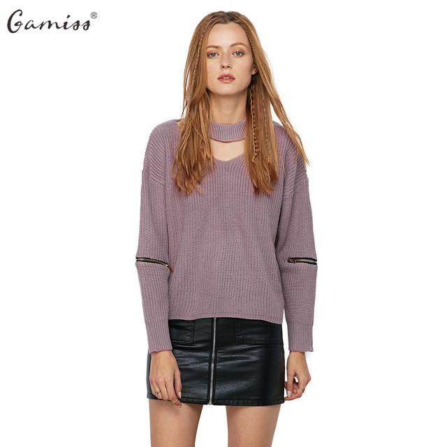 Gamiss Autumn Winter Women Sweater Jumper Pullover Long Zipped Sleeve Cut  Out V Neck Chunky Choker Sweaters Knitted pull femme 8ef253f90