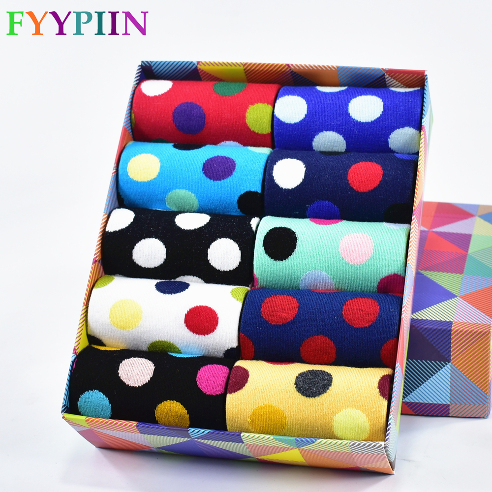 2020 New Arrival Real Sokken 5 Pairs Of Socks Men High Quality Colorful Popular Cotton Men's Latest Design Happiness No Box