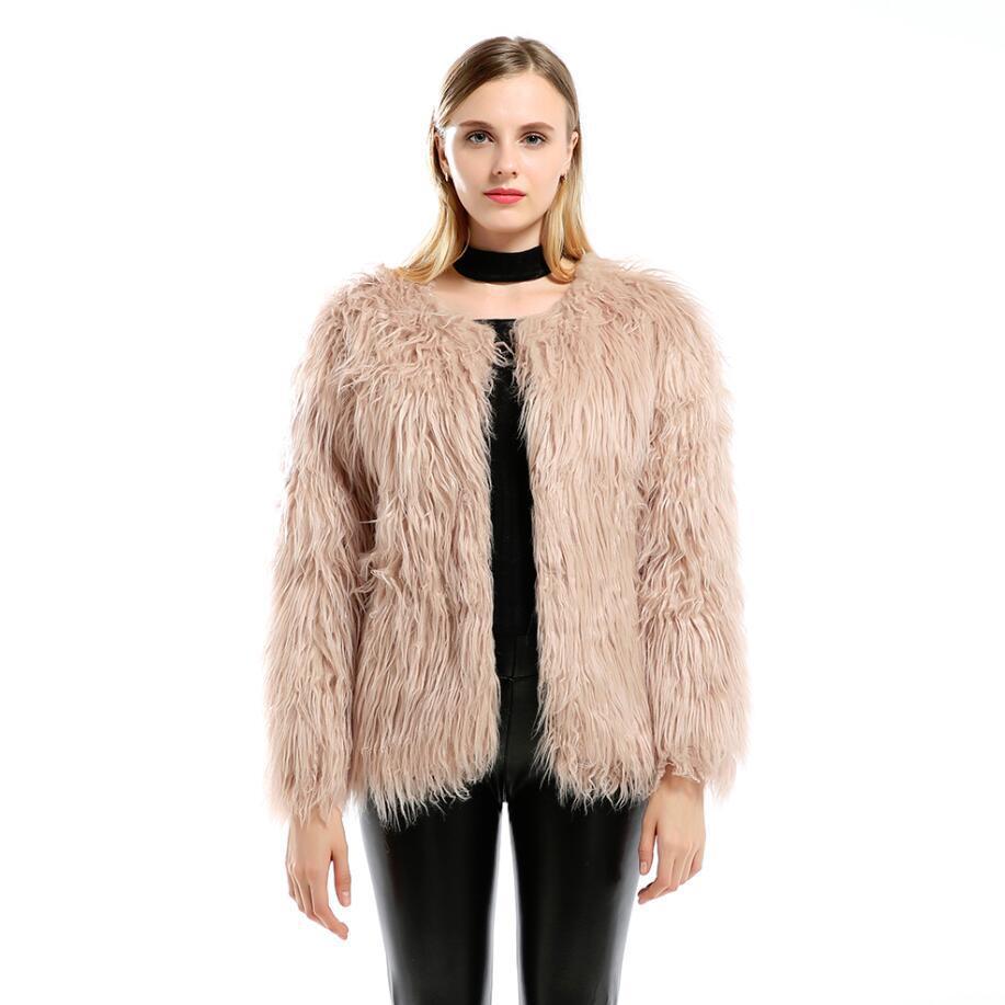 Luxe Fausse Mode 2018 Hiver Haute Longue Qualité Artificielle Manteaux blanc Chaud Femmes Peluche Outwear Kaki Manteau Fourrure De En Automne Veste SFZc1Wq