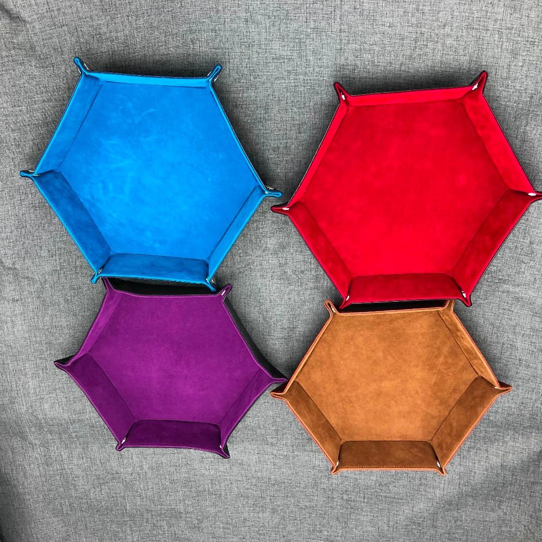 1Pc PU Couro Folding Hexagon Caixa Bandeja de Dados Dados Roxo Para DnD RPG Jogos de Dados De Armazenamento de Alta Qualidade