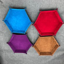 1Pc PU Leather Folding Hexagon Dice Tray Purple Dice Box For RPG DnD Games Dice Storage High Quality(China)