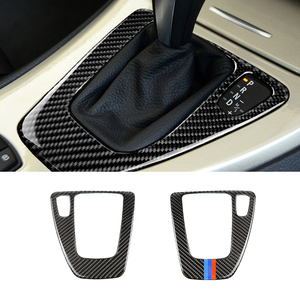Image 2 - ل BMW 3 series E90 E92 E93 2005 2006 2007 2008 2009 2010 2011 2012 ألياف الكربون والعتاد التحول غطاء لوحة التحكم LHD/RHD
