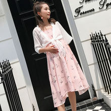 Wholesale pregnant women spring summer floral chiffon dress two-piece set short sleeve chiffon cardigans+strap floral dress suit(China)