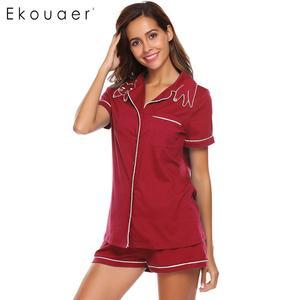 Image 4 - Ekouaer Women High Quality Pajamas Sets Nighties Turn down Collar Short Sleeve Elastic Waist Pocket Shorts Soft Pajama Set