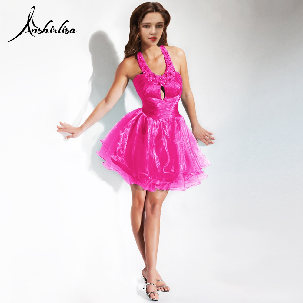 Anshirlisa Women's Mini Cocktail Dress Halter Beading Pleat Sexy Amazing Shiny Short Princess Prom Birth Party Club Dance Dress