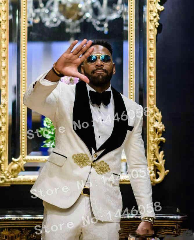 2019 ブランド中国スタイル黒ベルベットラペル白ペイズリー男性のスーツの結婚式タキシード新郎タキシード男性ディナーパーティードレス 3 ピーススーツ
