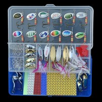 Fishing Spoon Lures 58pcs/set Spinnerbait Feathered Metal Spoons Fish Scale Lure Stickers Nice Snap Split Ring Kit with Box