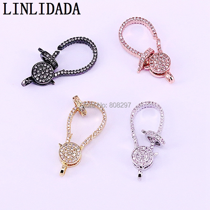 10Pcs Fashion Metal Copper CZ Pave Lobster Clasp With Two Loops Lobster Findings For Jewelry Making