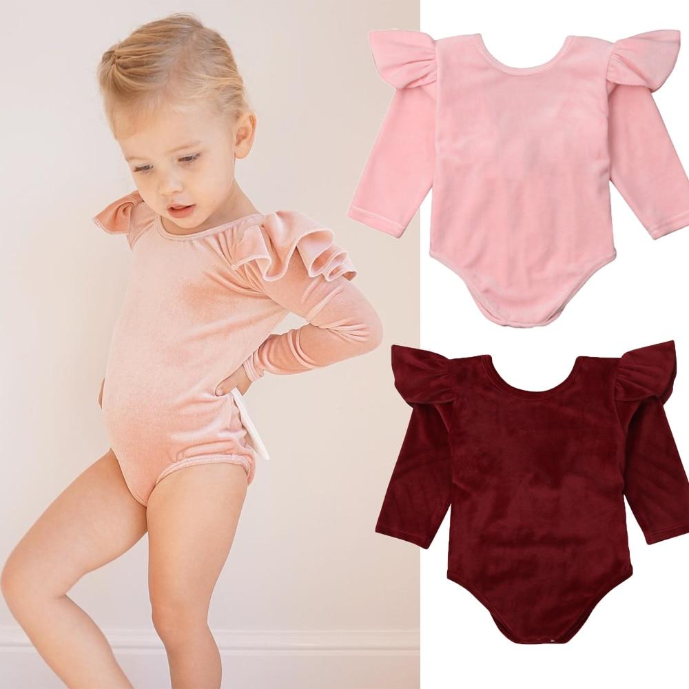 2018 Babies Solid Velvet Bowknot Bodysuit Newborn Baby Girls Backless Bodysuits Jumpsuit Outfit Clothes Set 0-24M