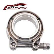 SPEEDWOW 2/2.25/2.5/3/3.5 Inch V-Band Clamp Stainless Steel V-Band Flange Kit For Exhaust Pipes Downpipe Car Exhaust System new stainless steel v band flat flange clamp kit assembly 3 inch inner 76mm v band clamp and flange kit male