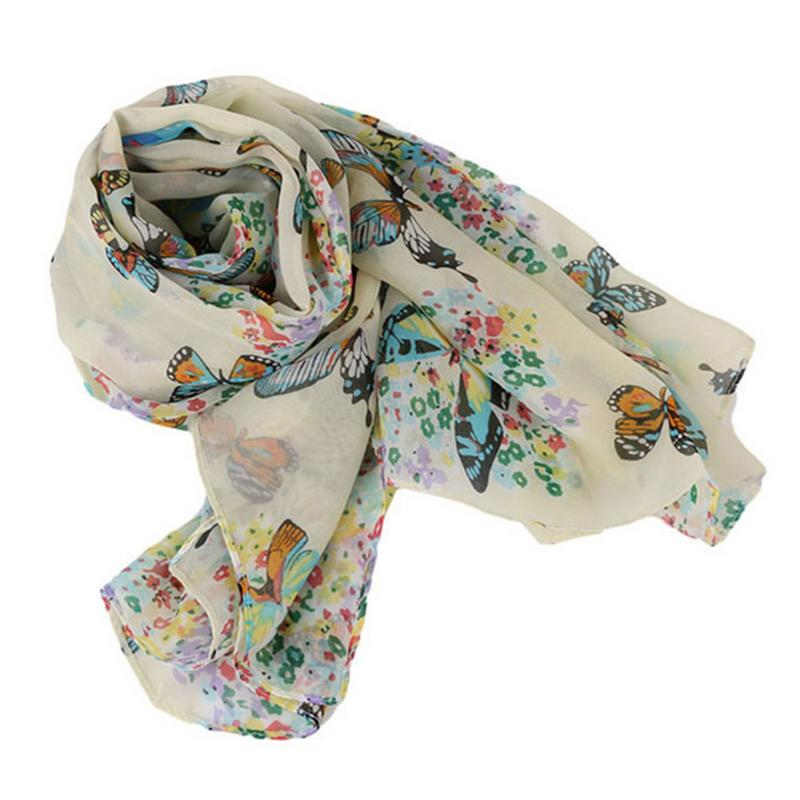 Summer Korean Chiffon Scarf Sunscreen Butterfly Printed Light Breathable Fashionable Versatile Scarf Lengthened Scarf