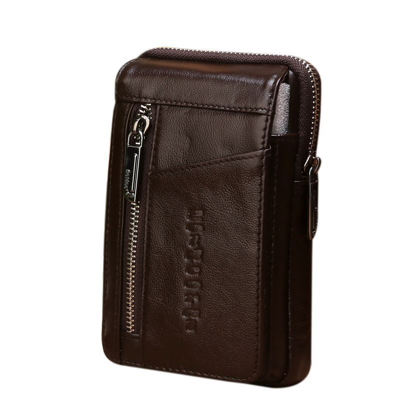 High Quality Genuine Leather Men Hip Bum Belt Purse Fanny Pack Mobile Phone Cigarette Case Hook Waist Cross Body Shoulder Bag