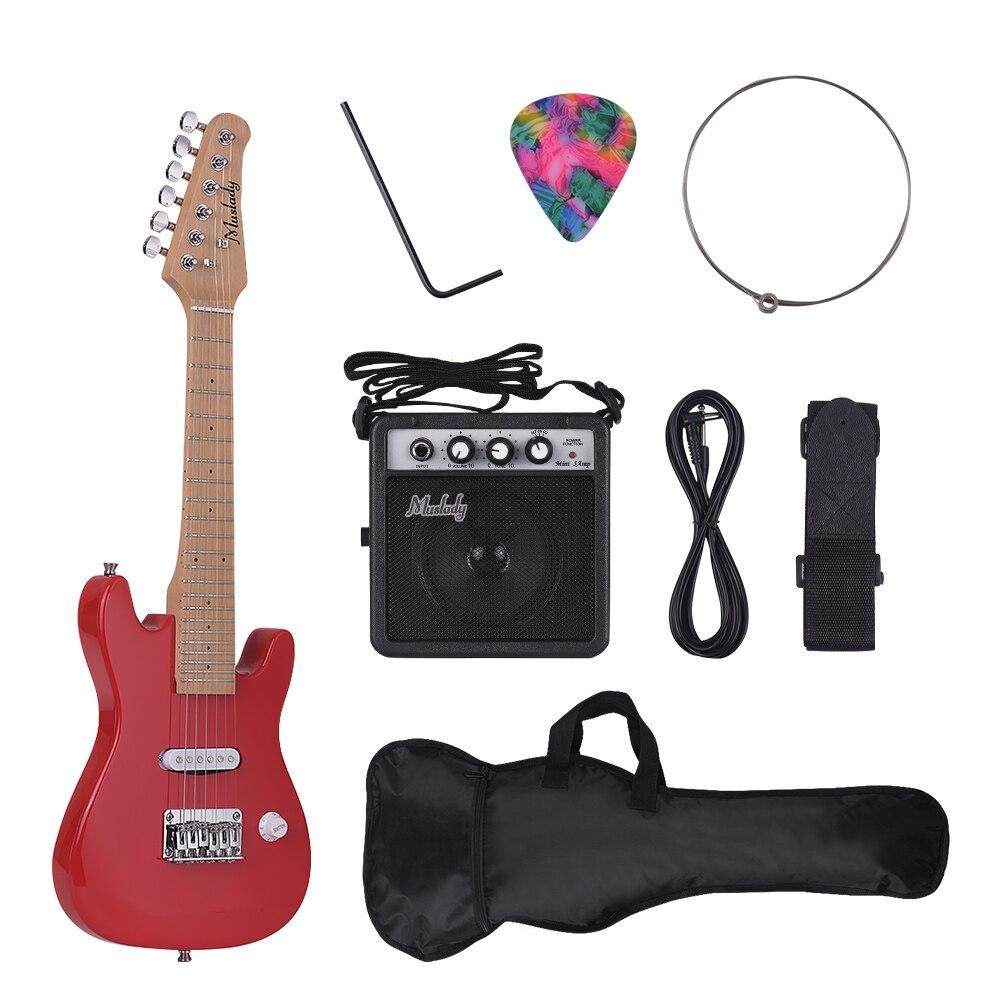 Muslady 28 pouces enfants enfants guitare électrique Kit érable cou Paulownia corps avec Mini amplificateur guitare sac sangle Pick String