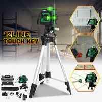4/8/12 Line 3D Green Light Laser Level Measure Self Leveling 360 Horizontal Vertical Cross Super Powerful Laser Beam w/Tripod
