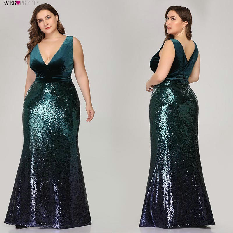 Image 3 - Plus Size Mother Of Bride Dress Ever Pretty Mermaid Sequined Long Formal Gowns For Wedding Guest Vestidos Para Madre De La Novia-in Mother of the Bride Dresses from Weddings & Events