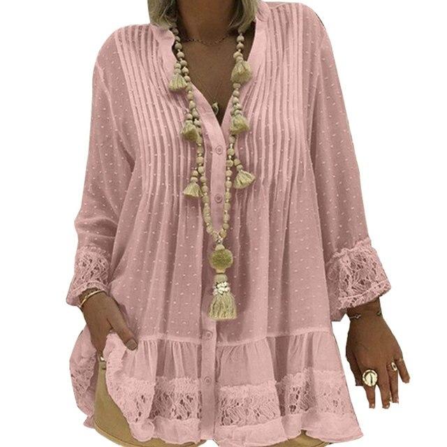 2019 Large Size 4xl 5xl Summer Clothing Lace Shirts Loose Chiffon Dress Loose blouse shirt Sleeve V-Neck Shirt Female Blouses 2