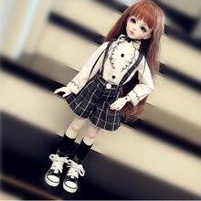BJD Кукла одежды включают в себя белая футболка клетчатый пиджак, комплект с брюками на подтяжках, кукла Костюмы для 1/3 1/4 1/6 BJD DD MSD мягкого плюша; аксессуары для куклы