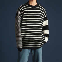 Spring New Sweater Men Fashion Striped Casual Loose Knit Pullover Man Streetwear Hip Hop Trend Wild Warm Male Clothes M-2XL