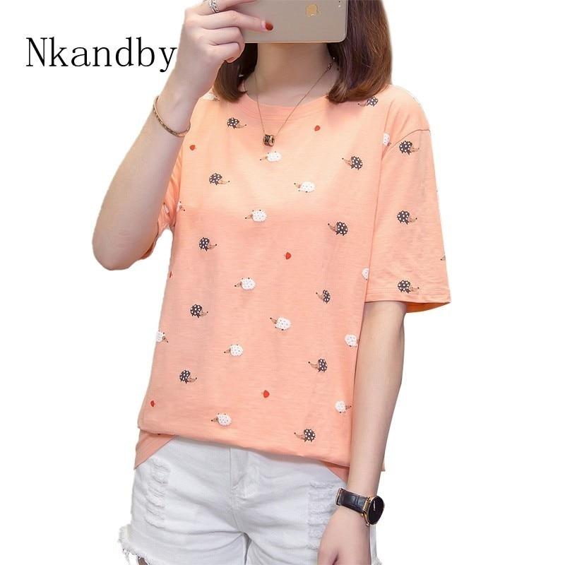 Plus Size Hedgehog Women Tshirt 2019 Summer Clothes Animal Print Funny T Shirts Cotton Ulzzang Oversize Tops Tees Femme Camiseta