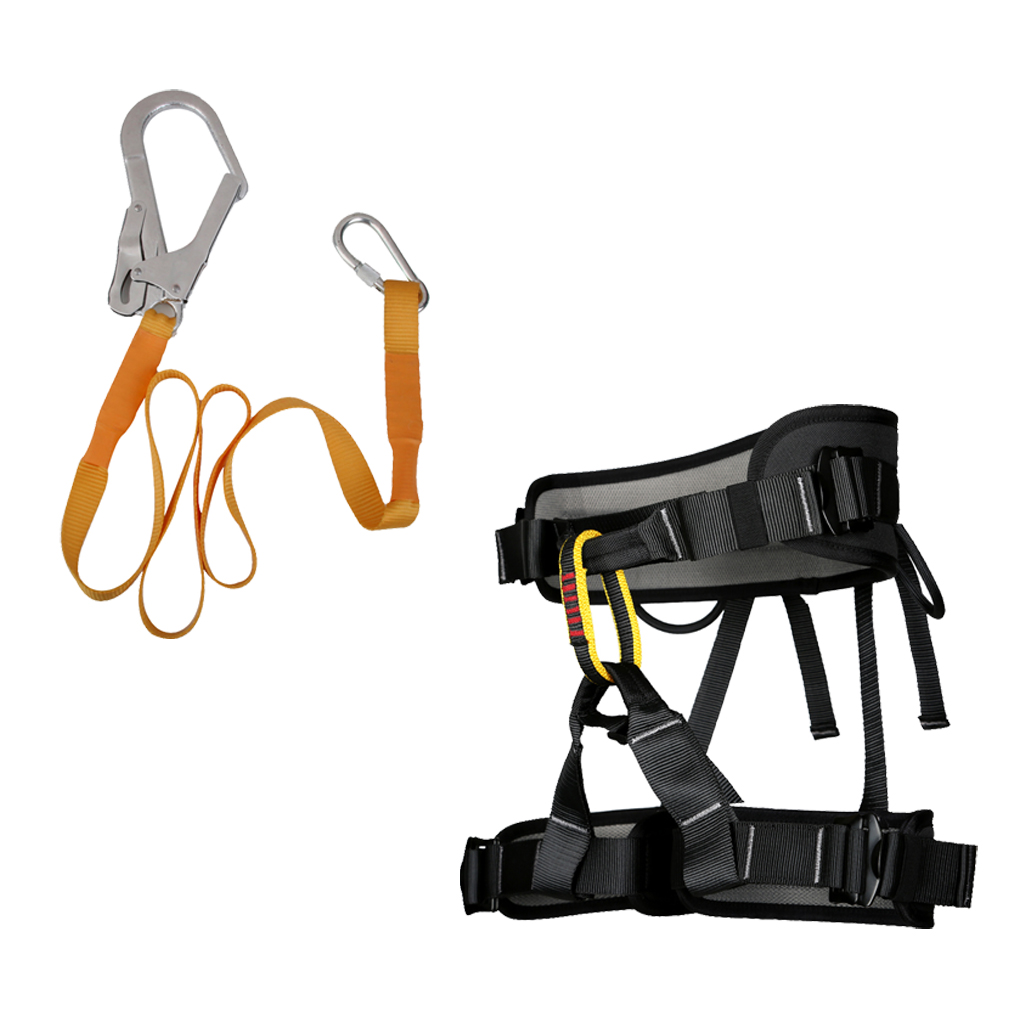Outdoor Sitting Harness with Safety Belt Lanyard 22KN Carabiner for Rappelling Equipment Rock Tree Climbing Camping Accessories outdoor rock tree climbing rappelling full body safety belt harness black for camping hiking carving equipment climbing acces