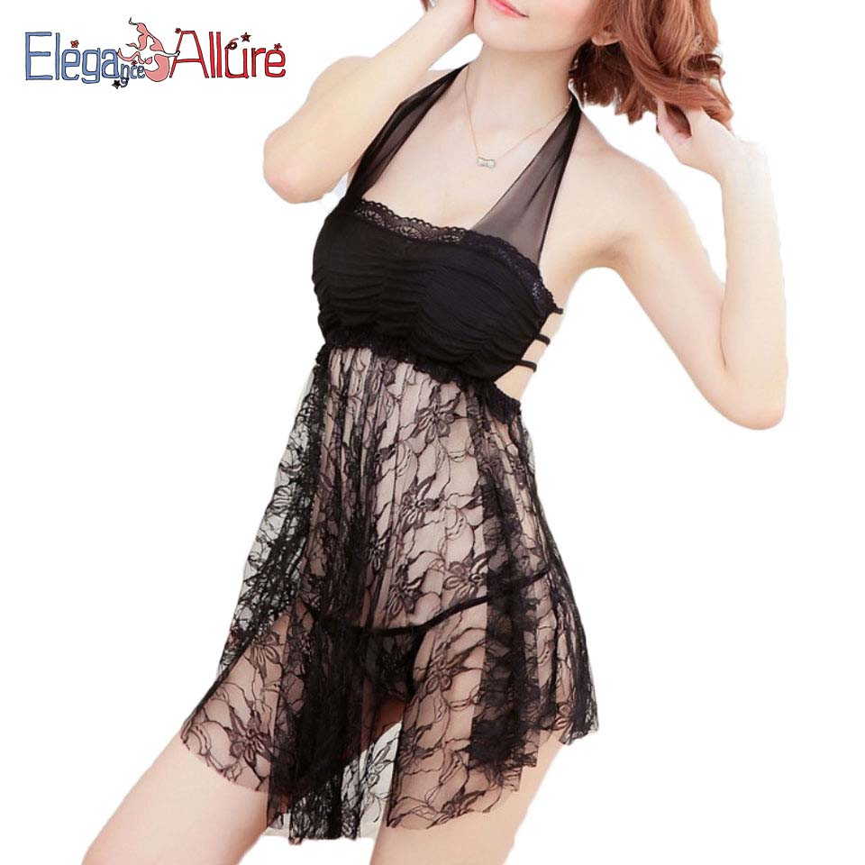 E&A Sexy Lingerie Hot Women Erotic Thongs Set Costume Transparent Underwear Female Sex Sleepwear Lady Halter Nightdress
