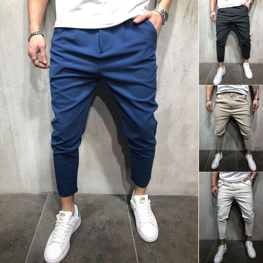 Newest Solid Men's Slim Fit Urban Straight Leg Trousers Casual Pencil Jogger Fitness Pants Male Trousers Mens Solid Color Street