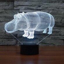 Атмосфера Подарочная настольная лампа Rhino 3D огни красочный сенсорный светодиодный визуальный свет Светодиодная лампа с сенсорным управлением