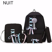 5 Set Brand Vintage Women Rucksack Backpack Canvas Chains School Backpacks For Teenage Girls Casual Large Capacity Shoulder Bag недорого
